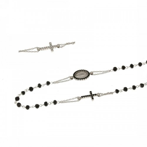White gold 18kt rosary necklace with black stones