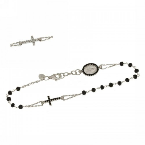 White gold 18kt rosary bracelet with black stones