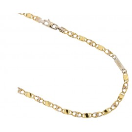 Yellow and white gold 18kt 750/1000 link chain shiny man necklace