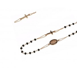 Rose gold 18kt 750/1000 with black stones rosary necklace