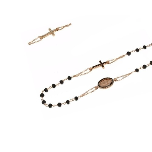 Rose gold 18kt rosary necklace with black stones