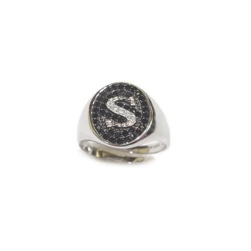 Anello in argento 925% con lettera personalizzabile