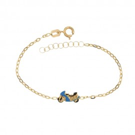 Yellow gold 18 Kt 750/1000 children bracelet with motorcycle