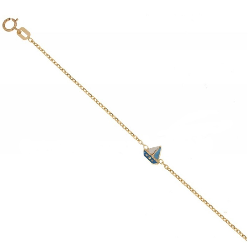 Yellow gold 18 Kt 750% children bracelet with boat