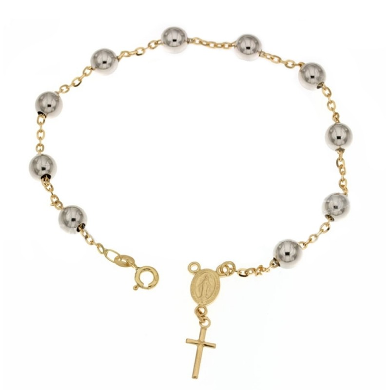 Yellow and white gold 18 Kt 750% rosary bracelet Length 7.50 inch