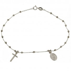 White gold 18 Kt 750/1000 with shiny spheres rosary bracelet