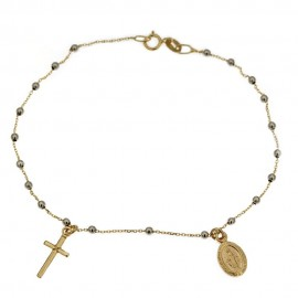 White and yellow gold 18 Kt 750% rosary bracelet 1.50 gr