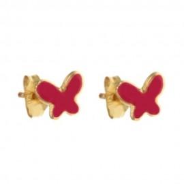 Orecchini in oro giallo 18 Kt 750/1000 con farfalle fucsia da bambina