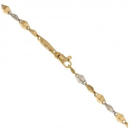 Yellow and white gold 18 Kt 750/1000 link chain rhombus bracelet