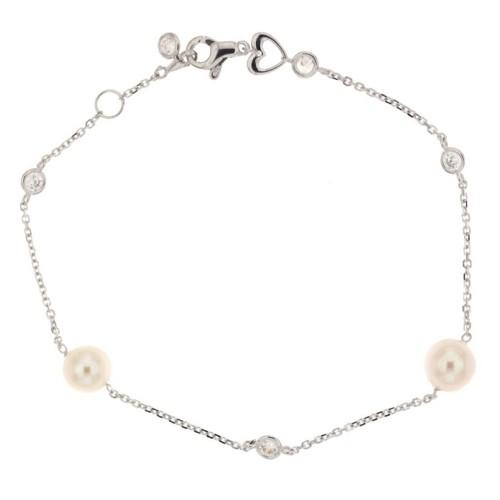 Bracciale in oro bianco 18Kt 750% con perle e zirconi