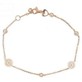 Rose gold 18 k with pearls and cubic zirconia bracelet