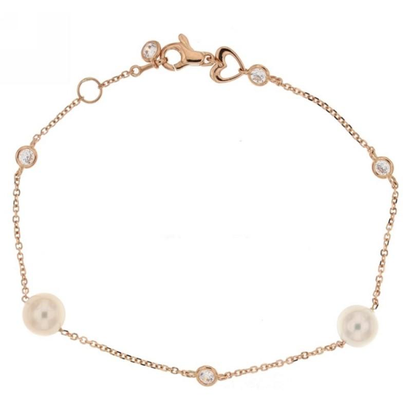 Bracciale in oro rosa 18Kt 750% con perle e zirconi