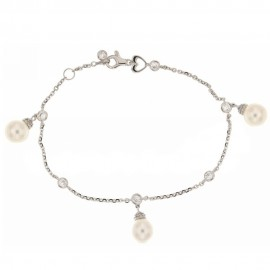 White gold 18 k with pearls and cubic zirconia bracelet