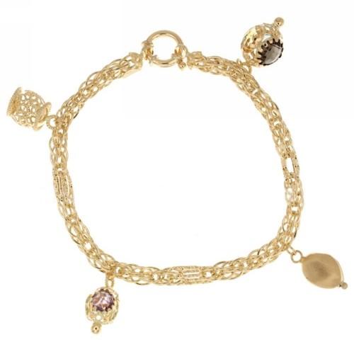 Yellow gold 18 K bracelet with pendants