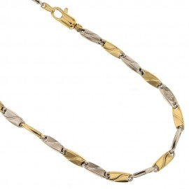 White and yellow gold 18 K chain link