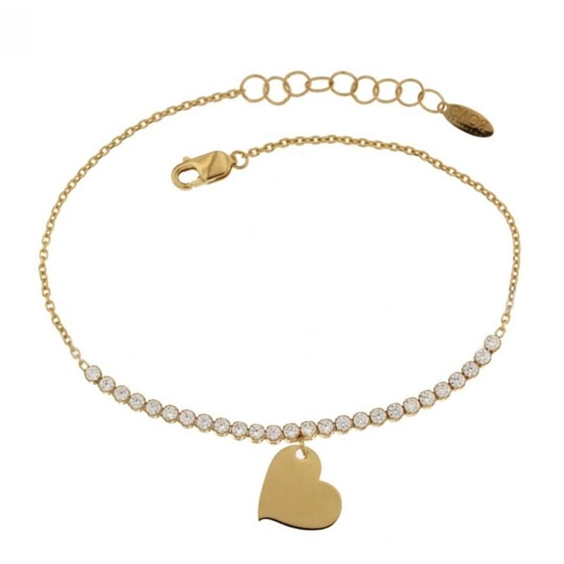 Bracciale in oro giallo 18 Kt 750% con cuore e zirconi