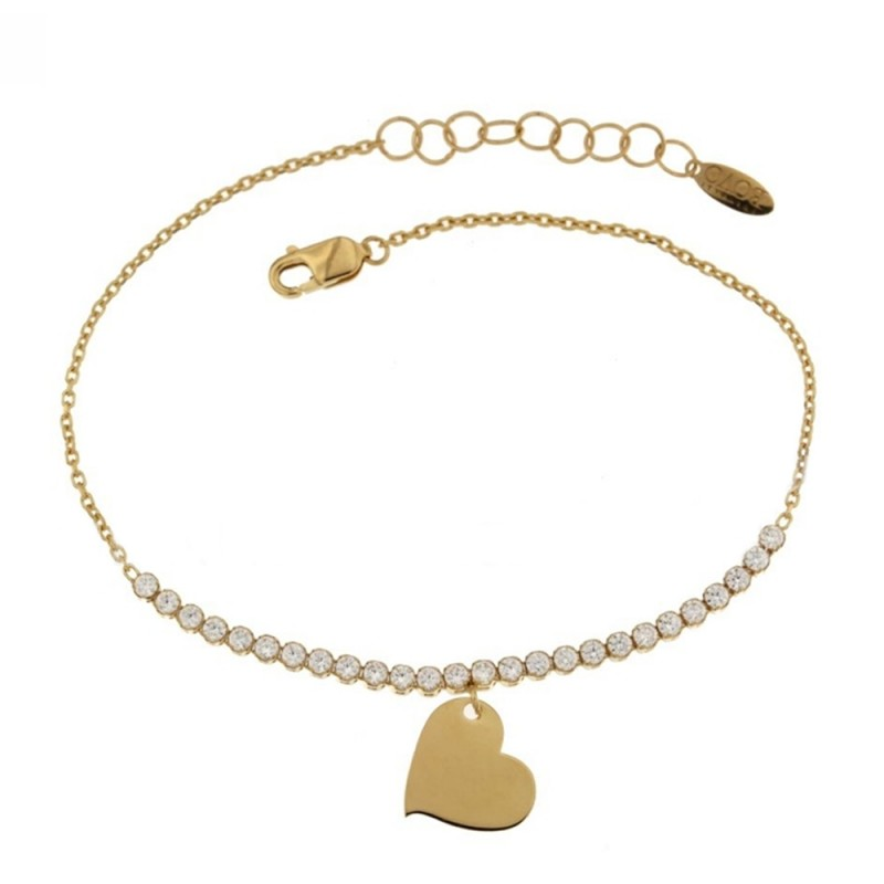 Yellow gold 18 K rolò chain, cubic zirconia bracelet