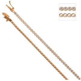 Gold 18Kt 750/1000 tennis type with white cubic zirconia bracelet