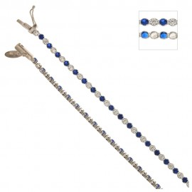 White gold 18Kt 750/1000 with colored cubic zirconia Tennis bracelet