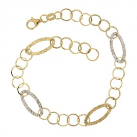 Gold 18Kt 750/1000 link chain shiny woman bracelet