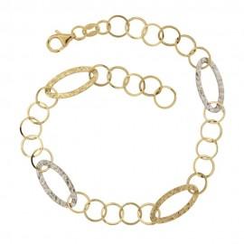 Gold 18Kt 750/1000 link chain shiny woman bracelet