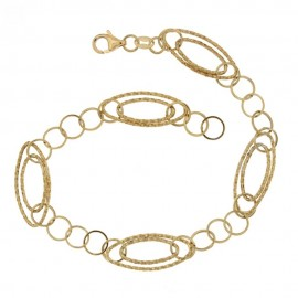 Gold 18Kt750/1000 link chain shiny and hammered woman bracelet