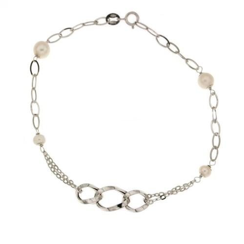 Bracciale in oro 18 Kt a catena con perle