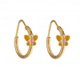 Orecchini in oro giallo 18 Kt 750/1000 a cerchio con farfalla da bambina