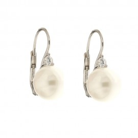 Gold 18 K cubic zirconia and pearls earrings