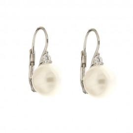 Orecchini in oro 18 Kt con perle e zirconi