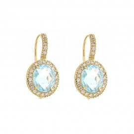 Gold 18 K sky blue quartz and cubic zirconia earrings