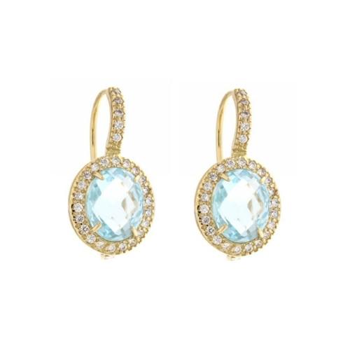 Gold 18 K sky blue quartz and cubic zirconia earrings