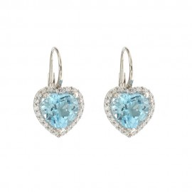 White gold 18 K quartz hearts earrings