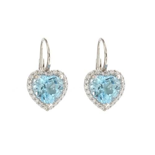 White gold 18 K quartz hearts earrings