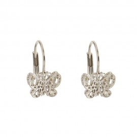 Gold 18 Kt 750/1000 with openworked butterfly earrings