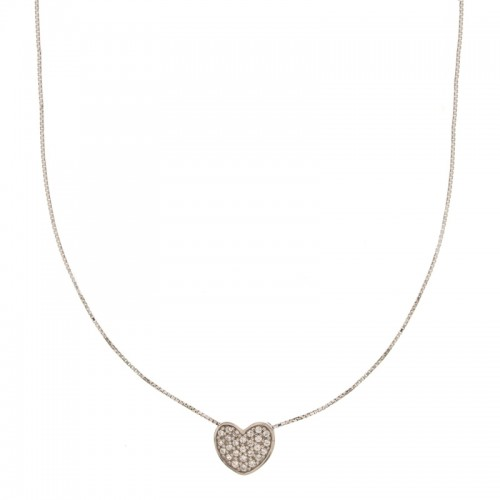 Girocollo in oro bianco 18 Kt con cuore e zirconi colorati