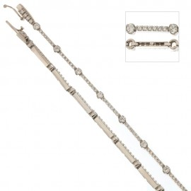 White gold 18Kt 750/1000 alternating stones Tennis bracelet