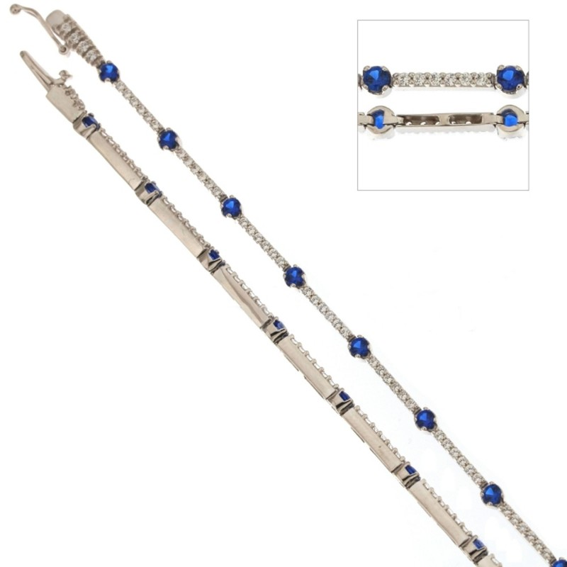 White gold 18 K alternating stones Tennis bracelet