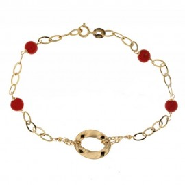 Yellow gold 18Kt with coral shiny woman bracelet