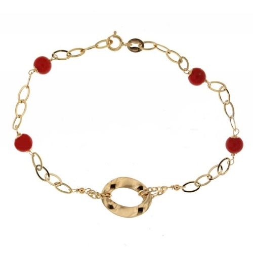 Yellow gold 18 K coral bracelet