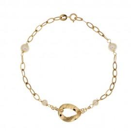 Bracciale in oro giallo 18Kt 750/1000 con perle lucido da donna