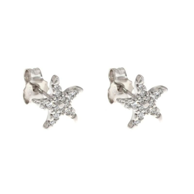 Orecchini stelle in oro bianco 18 Kt con zirconi
