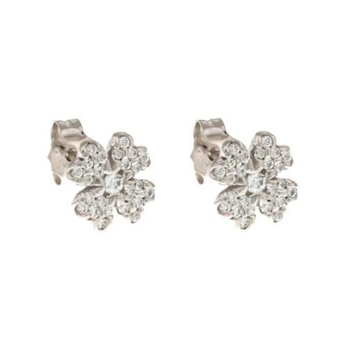 White gold 18 K four-leaf clover earrings