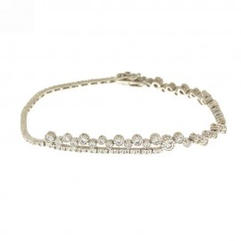 White gold 18Kt 750/1000 with white cubic zirconia woman bracelet