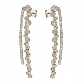 White gold 18 Kt 750/1000 with white cubic zirconia woman earrings