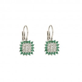 White gold 18 Kt 750/1000 with colored cubic zirconia earrings