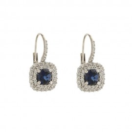 White gold 18 K colored cubic zirconia earrings