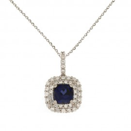 White gold 18 K colored cubic zirconia Corinne necklace
