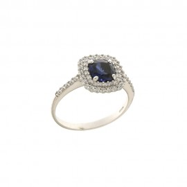 White gold 18 K colored cubic zirconia Corinne ring