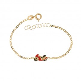 Yellow gold 18 Kt 750/1000 children bracelet with red motorcycle